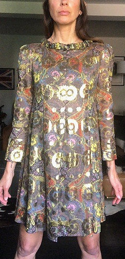 Marc by Marc Jacobs Paisley Gold Metallic Babydoll Dress from Early 2000's