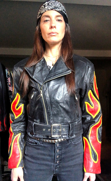 North Beach Leather Motorcycle Jacket with Flames from the 1980's