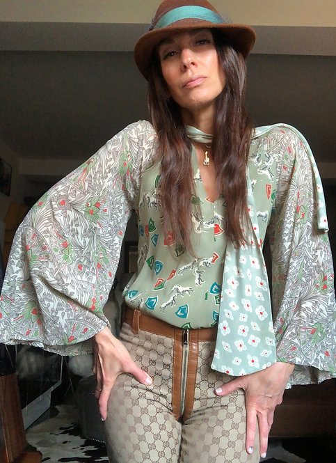 Unicorn Print Butterfly Sleeve Blouse from the 1970's