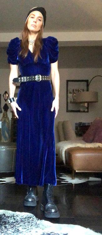Blue Velvet Dress from the 1930's