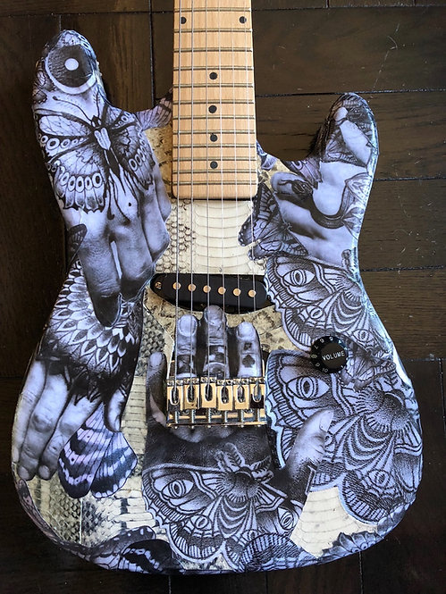 Guitar with Snakeskin and Tattoo Collage