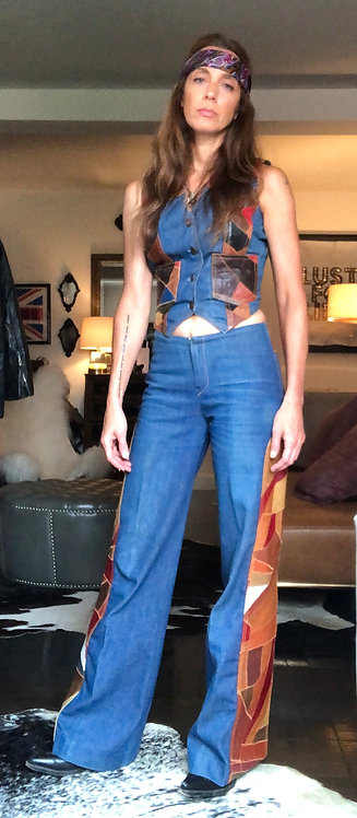 Patchwork Leather on Denim Set from 1970's