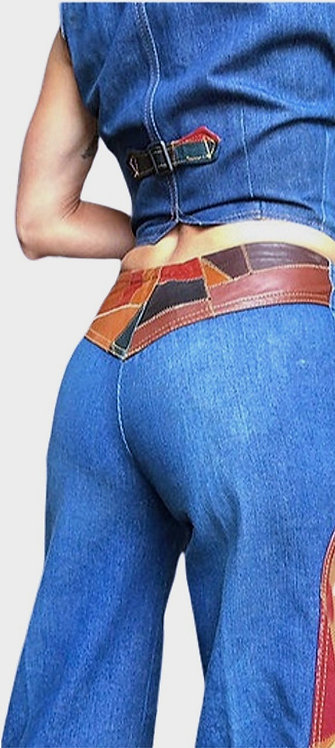 Vintage Denim Pants with Leather Patchwork from the 1970's