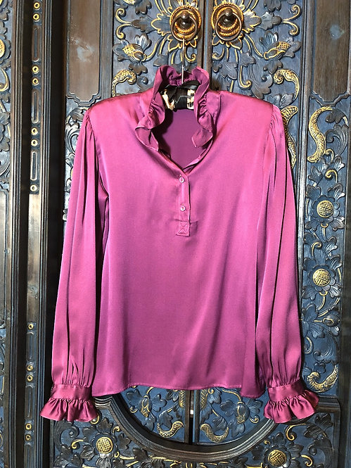 SAINT LAURENT VINTAGE SILK PURPLE BLOUSE FROM 1970'S