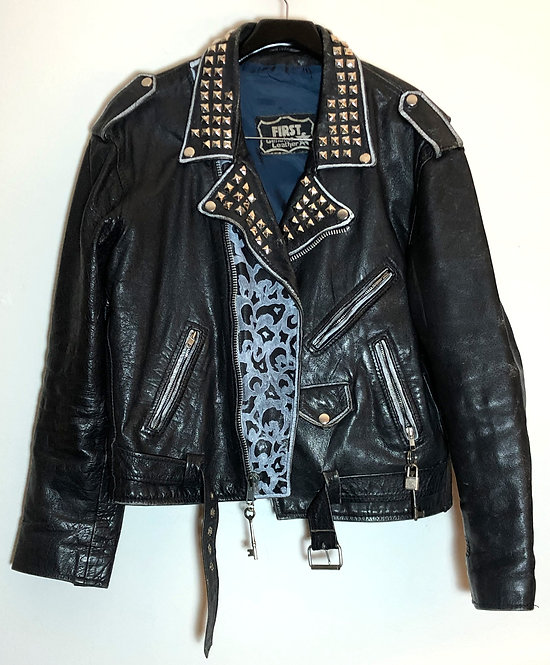 Punk Rock Iggy and The Stooges Motorcycle Jacket 1980's/90's