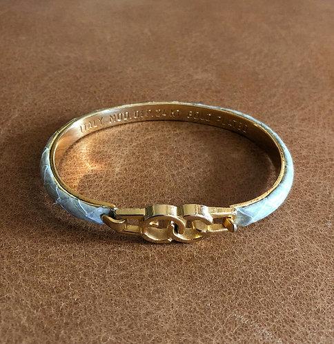 Gucci Logo Vintage 24 Karat Gold Plated Sage Snakeskin Bangle Bracelet