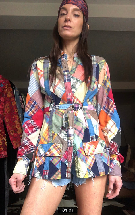 Madras Patchwork Shirt from the 1970's
