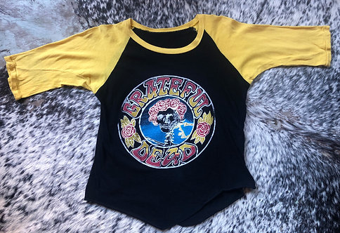 Grateful Dead Raglan Sleeve T-Shirt from 1970's in Black and Yellow