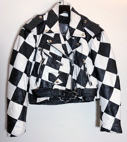Black and White Checkered Motorcycle Jacket from 1990s
