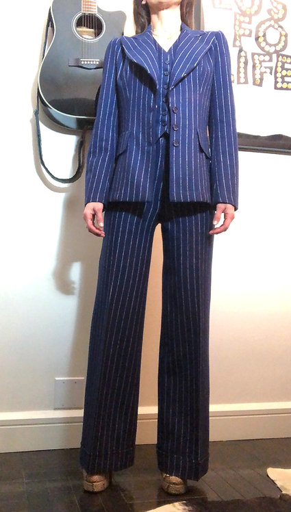 MOD THREE PIECE PINSTRIPE SUIT FROM EARLY 1970's