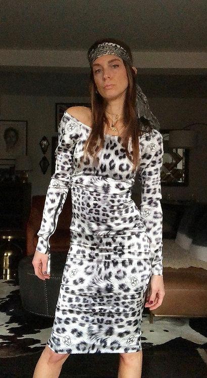 Preloved Stretch Silk Satin Leopard Print Dress by Thomas Wylde