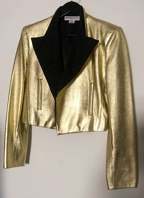 Saint Laurent Glam Rock Gold Leather Tux Jacket from the 1970's