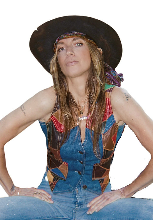 Vintage Denim Vest with Leather Patchwork from the 1970's