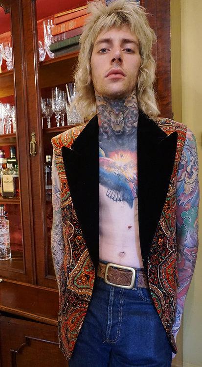 Repurposed Paisley Velvet Sleeveless Blazer from the 1970's