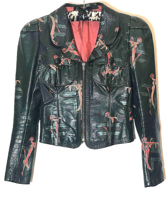 Alkasura London Vintage 1970's Printed Leather Jacket