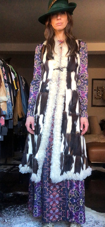 Custom Made Patchwork Fur Long Vest from 1970's