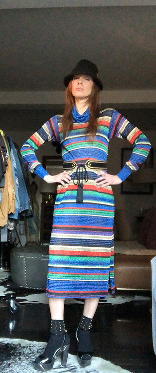 Striped Lurex Turtleneck Dress from the 1970's