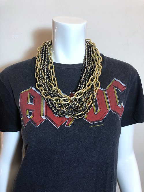 Layered Heavy Metal Chain Necklace from the 1980's