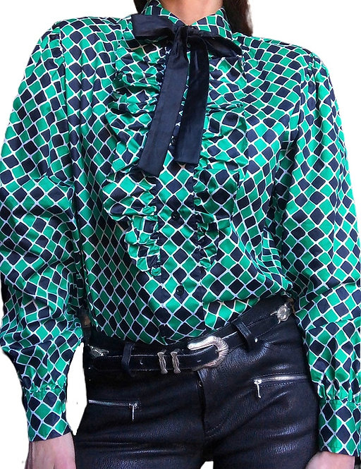 Saint Laurent Harlequin Print Blouse from the 1970's