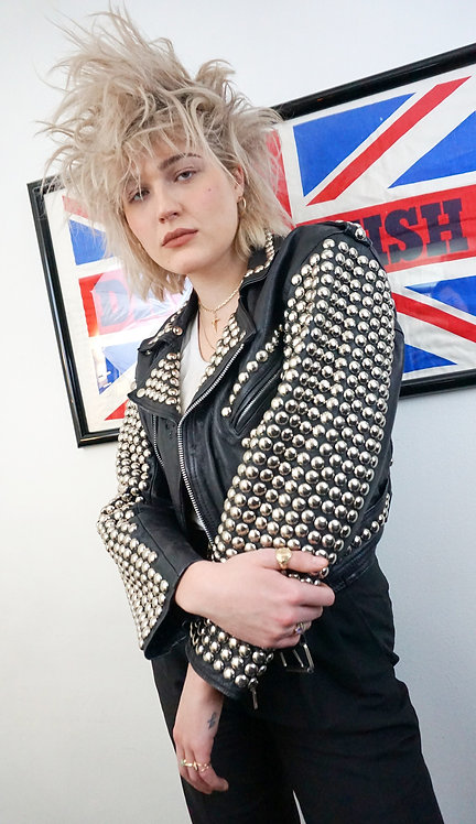 London Leatherwear Studded Motorcycle Jacket from 1980's
