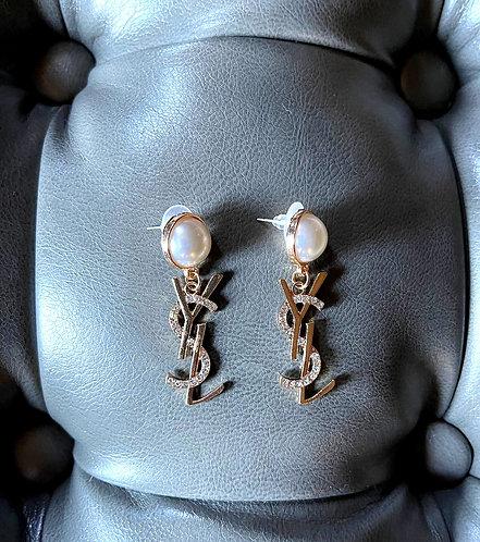Yves Saint Laurent Vintage Faux Pearl Logo Earrings from 1980's/90's