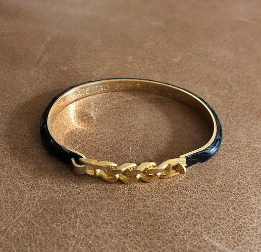 Gucci Cuban Chain Vintage 24 Karat Gold Plated Black Snakeskin Bangle Bracelet