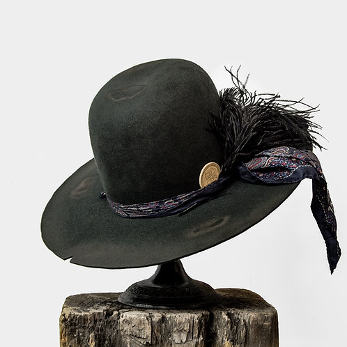 Upcycled Vintage Stetson Beaver Felt Hat with Silk Scarf