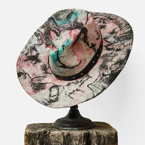 Upcycled Vintage Stetson Hand Painted Psychedelia Straw Hat