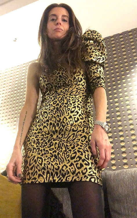 Frederick's of Hollywood Gold Leopard Dress from 1980's