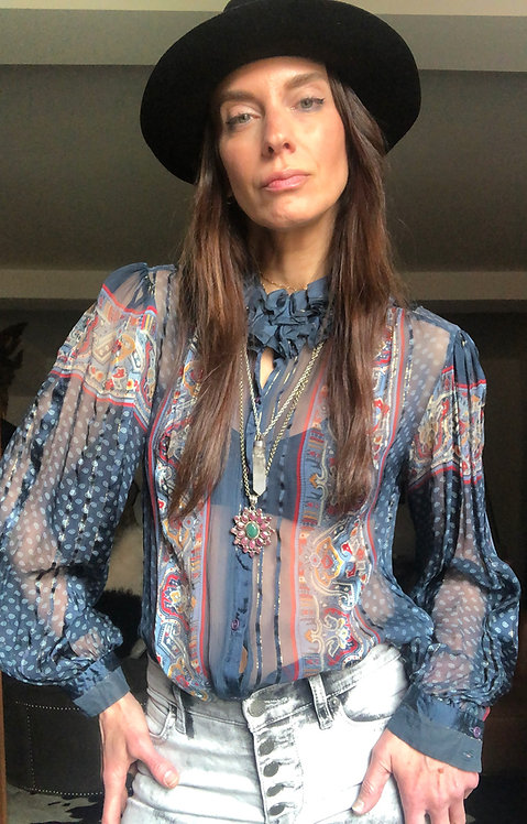 Sheer Silk Blue Patterned Blouse from the 1970's