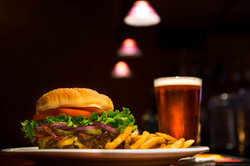 Tall Beer with Burger & Fries