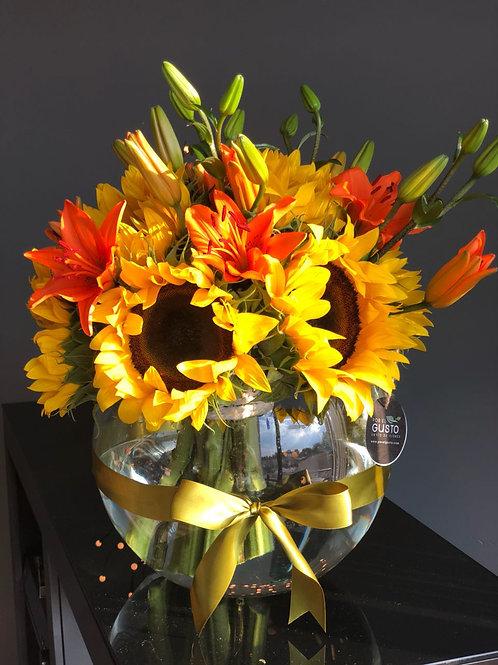 Gran Pecera Girasoles y lilis