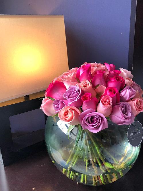 Pecera 50 rosas pastel