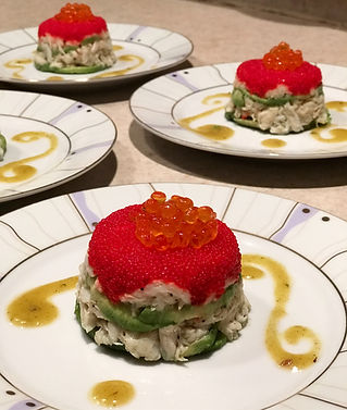 Asian Style Crab and Avocado timbales with tobiko & salmon roes