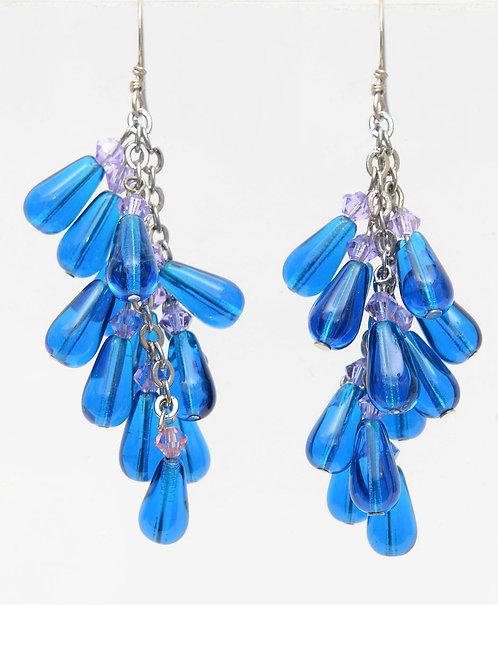 Blue glass, silver-tone waterfall earrings
