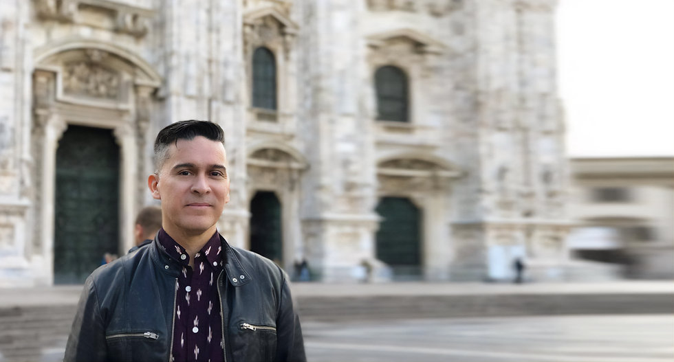 Chef Mark in front of the Duomo in Milan