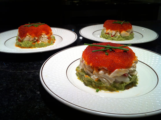 Crab and Avocado timbales with tobiko roe