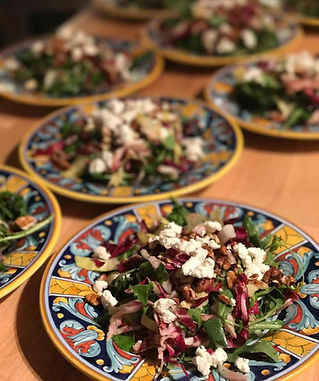 Spicy radicchio and endive salad with cotija cheese and spiced nuts