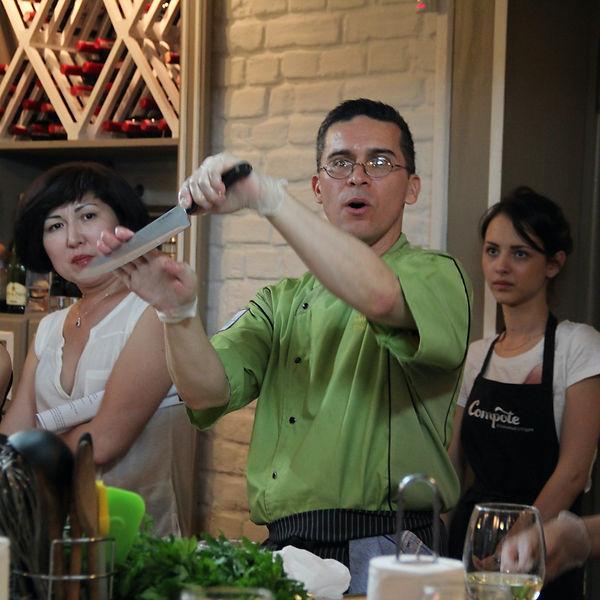 Chef Mark Tafoya teaches proper knife technique