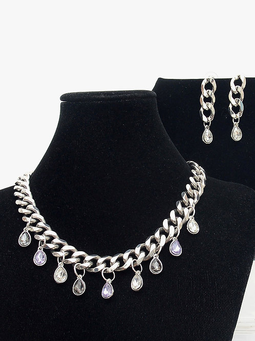 Plata y Cristal Necklace and Earring Set