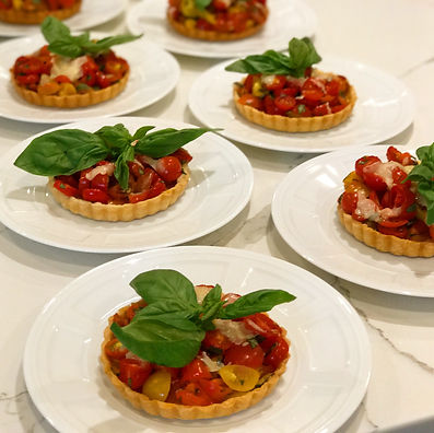 Tomato and Basil tartlets with Parmesan