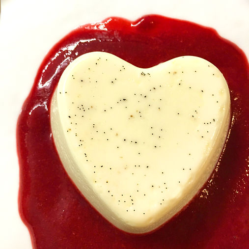 Heart Shaped Vanilla Flan with Raspberry Coulis
