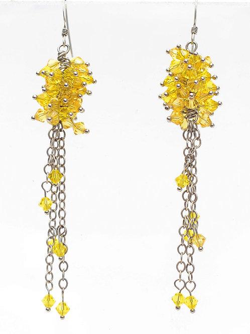 Hand-crafter amber Swarovski crystal drop earrings
