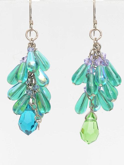 Green glass, silver-tone waterfallearrings