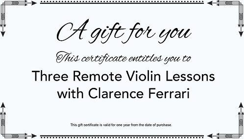 Gift Certificate For Three Remote Violin Lessons
