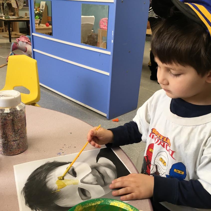 Painting Purim masks
