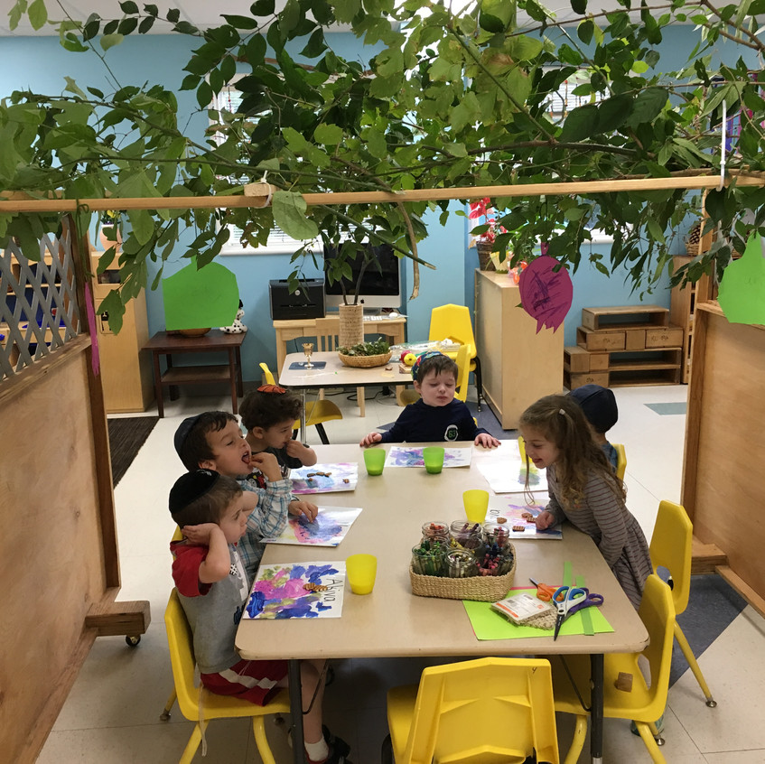 Lunch in the classroom sukkah