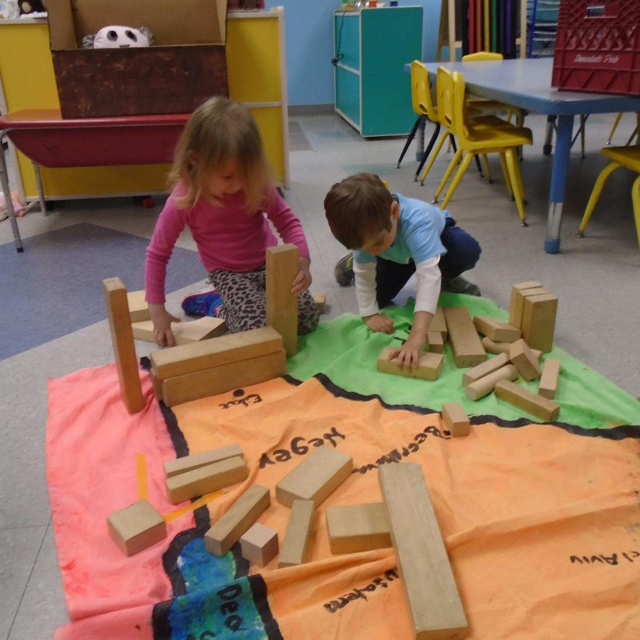 Team Shfanim making pyramids in the Negev.