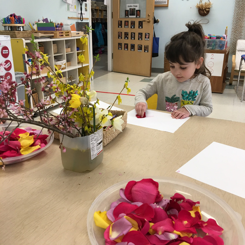 Painting with rose petals