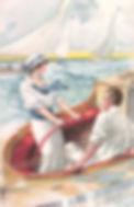 Couple en régate, jeune femme à la barre